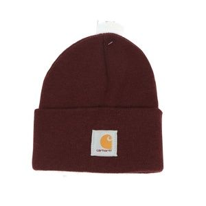 New Carhartt Spell Out Winter Beanie Hat Port Wine